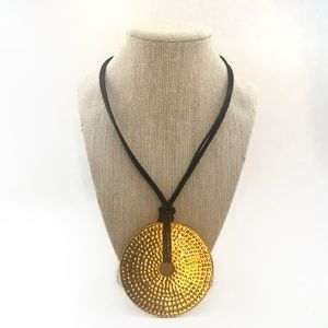 Joan Rivers Hammered Gold Pendant Leather Necklace
